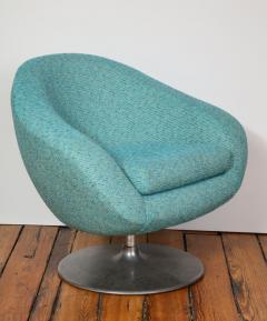 Gastone Rinaldi Pair of Swivel Lounge Chairs by Gastone Rinaldi in Turquoise Tweed 1970 Italy - 1603938