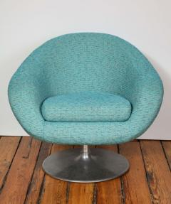Gastone Rinaldi Pair of Swivel Lounge Chairs by Gastone Rinaldi in Turquoise Tweed 1970 Italy - 1603941