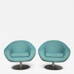 Gastone Rinaldi Pair of Swivel Lounge Chairs by Gastone Rinaldi in Turquoise Tweed 1970 Italy - 1605323