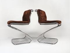 Gastone Rinaldi Set of 6 Solid Steel Gastone Rinaldi Italian Modernist Dining Chairs for Rima - 1017270