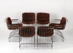 Gastone Rinaldi Set of 6 Solid Steel Gastone Rinaldi Italian Modernist Dining Chairs for Rima - 1017272