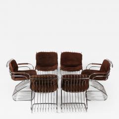 Gastone Rinaldi Set of 6 Solid Steel Gastone Rinaldi Italian Modernist Dining Chairs for Rima - 1017592