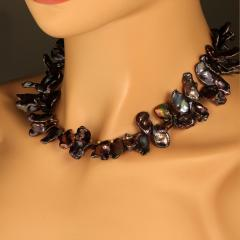 Gemjunky 18 Inch Walnut Maroon Color Keshi Pearl necklace - 1908939