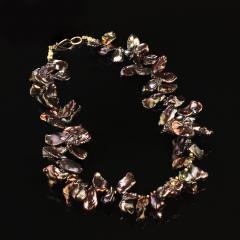 Gemjunky 18 Inch Walnut Maroon Color Keshi Pearl necklace - 1908940