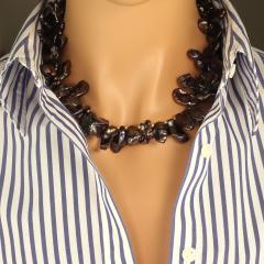 Gemjunky 18 Inch Walnut Maroon Color Keshi Pearl necklace - 1908941