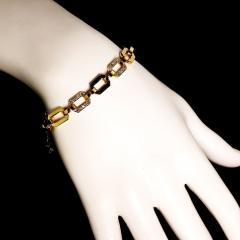 Gemjunky 18K Rich Yellow Gold Diamond Square Link Bracelet - 1701248
