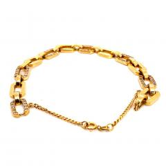 Gemjunky 18K Rich Yellow Gold Diamond Square Link Bracelet - 1701249