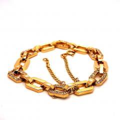 Gemjunky 18K Rich Yellow Gold Diamond Square Link Bracelet - 1701251