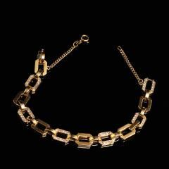 Gemjunky 18K Rich Yellow Gold Diamond Square Link Bracelet - 1701252