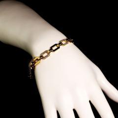 Gemjunky 18K Rich Yellow Gold Diamond Square Link Bracelet - 1701258