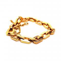 Gemjunky 18K Rich Yellow Gold Diamond Square Link Bracelet - 1703179