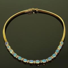 Gemjunky 18K Yellow Gold Opal and Diamond Necklace - 1781530