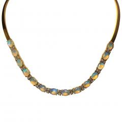 Gemjunky 18K Yellow Gold Opal and Diamond Necklace - 1781553