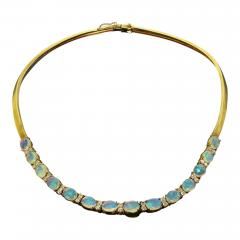 Gemjunky 18K Yellow Gold Opal and Diamond Necklace - 1785178