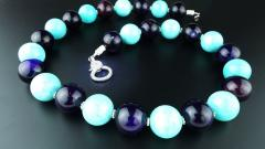 Gemjunky 20 Inch Necklace of Amazonite and Amethyst Spheres with Diamond Clasp - 2006681