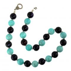 Gemjunky 20 Inch Necklace of Amazonite and Amethyst Spheres with Diamond Clasp - 2006682