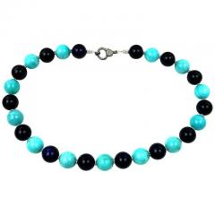 Gemjunky 20 Inch Necklace of Amazonite and Amethyst Spheres with Diamond Clasp - 2006683