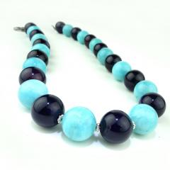 Gemjunky 20 Inch Necklace of Amazonite and Amethyst Spheres with Diamond Clasp - 2006684