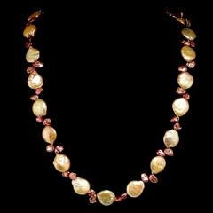 Gemjunky 27 Inch Peachy Coin Pearl and Mauve Briolette Pearl Necklace - 1926872