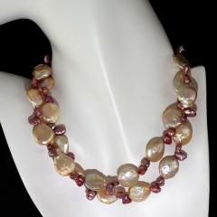 Gemjunky 27 Inch Peachy Coin Pearl and Mauve Briolette Pearl Necklace - 1926873