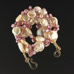 Gemjunky 27 Inch Peachy Coin Pearl and Mauve Briolette Pearl Necklace - 1926874