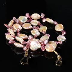Gemjunky 27 Inch Peachy Coin Pearl and Mauve Briolette Pearl Necklace - 1926877