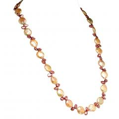 Gemjunky 27 Inch Peachy Coin Pearl and Mauve Briolette Pearl Necklace - 1926879