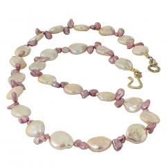 Gemjunky 27 Inch Peachy Coin Pearl and Mauve Briolette Pearl Necklace - 1926880