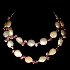 Gemjunky 27 Inch Peachy Coin Pearl and Mauve Briolette Pearl Necklace - 1926884