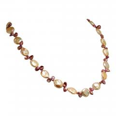 Gemjunky 27 Inch Peachy Coin Pearl and Mauve Briolette Pearl Necklace - 1927242