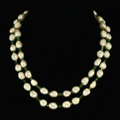Gemjunky 33 Inch Necklace of White Pearls and Green Chrome Diopside - 1792382