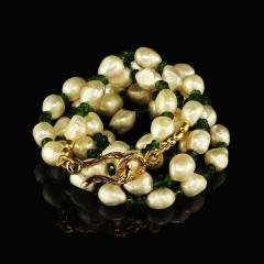 Gemjunky 33 Inch Necklace of White Pearls and Green Chrome Diopside - 1792383