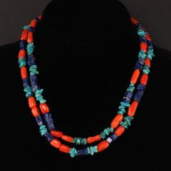 Gemjunky 35 Inch Southwest style necklace of Coral Lapis and Turquoise - 1926842