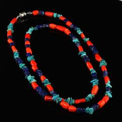 Gemjunky 35 Inch Southwest style necklace of Coral Lapis and Turquoise - 1926843