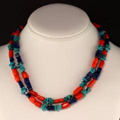 Gemjunky 35 Inch Southwest style necklace of Coral Lapis and Turquoise - 1926845