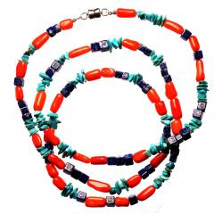 Gemjunky 35 Inch Southwest style necklace of Coral Lapis and Turquoise - 1926846
