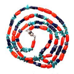 Gemjunky 35 Inch Southwest style necklace of Coral Lapis and Turquoise - 1926848