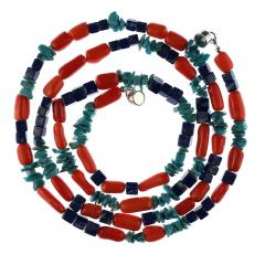 Gemjunky 35 Inch Southwest style necklace of Coral Lapis and Turquoise - 1926856