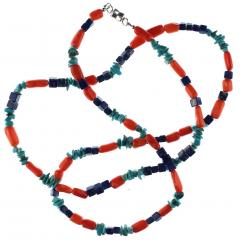 Gemjunky 35 Inch Southwest style necklace of Coral Lapis and Turquoise - 1926857