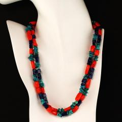 Gemjunky 35 Inch Southwest style necklace of Coral Lapis and Turquoise - 1926858