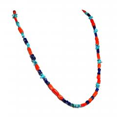 Gemjunky 35 Inch Southwest style necklace of Coral Lapis and Turquoise - 1927238
