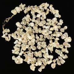Gemjunky 40 Inch Elegant White Keshi Pearl Necklace - 1926832