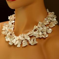 Gemjunky 40 Inch Elegant White Keshi Pearl Necklace - 1926834