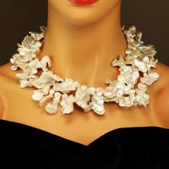Gemjunky 40 Inch Elegant White Keshi Pearl Necklace - 1926835