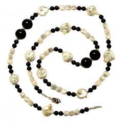 Gemjunky 45 Inch Long Black and White Elegant necklace - 1900152