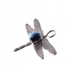 Gemjunky Blue Cats Eye Tourmaline set in Sterling Silver Dragonfly Pendant - 1949353