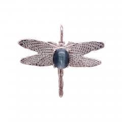Gemjunky Blue Cats Eye Tourmaline set in Sterling Silver Dragonfly Pendant - 1949412
