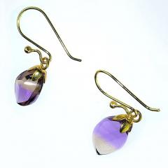 Gemjunky Brazilian Ametrine Earrings on French Hooks - 1991190