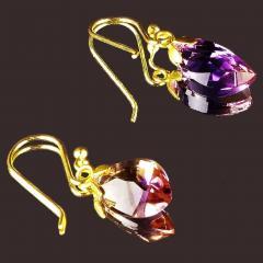 Gemjunky Brazilian Ametrine Earrings on French Hooks - 1991192