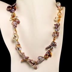 Gemjunky Choker necklace of Wild Funky Shaped Silvery Pearls with Golden Accents - 1926836